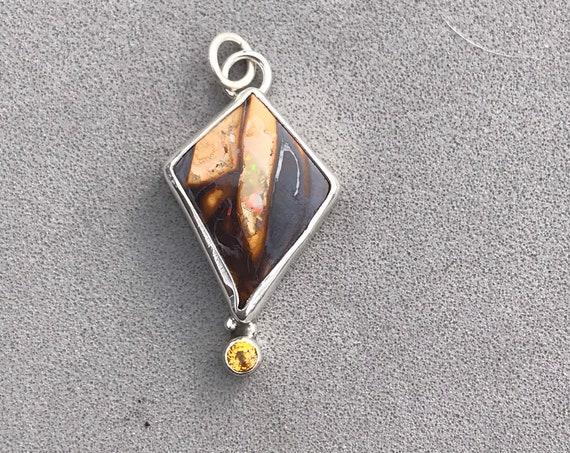 Australian Boulder Opal and sapphire pendant