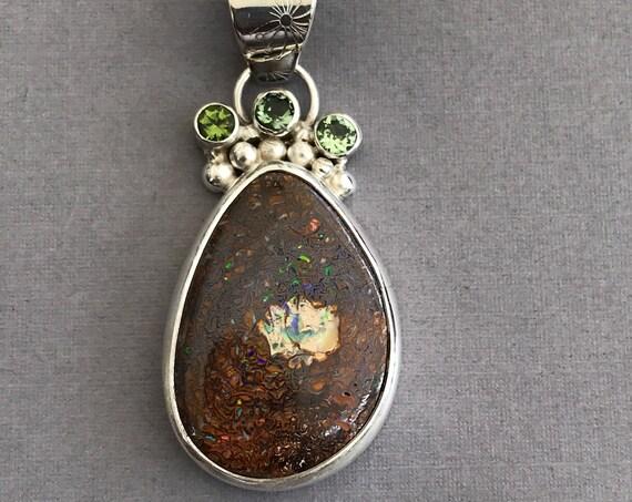 Australian Boulder Opal and tourmaline pendant