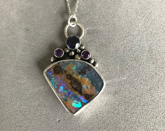 Flashing opal with spinel and amethyst pendant