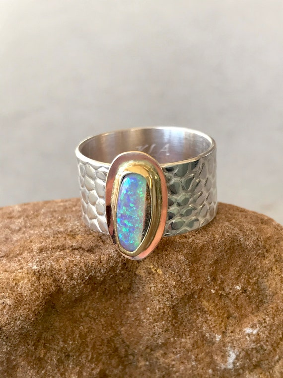 Crystal opal in 18k gold on sterling silver ring