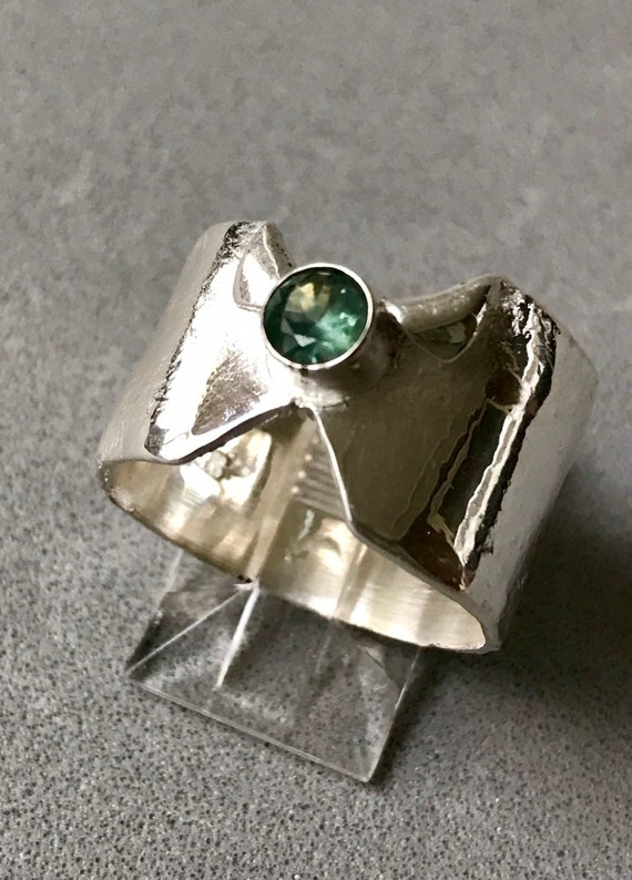 Green Montana sapphire wide band ring