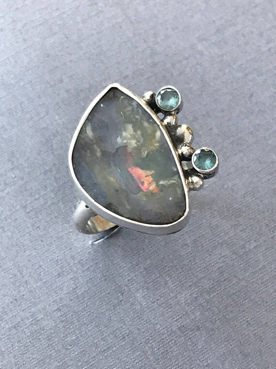Australian Boulder opal and topaz ring sterling silver