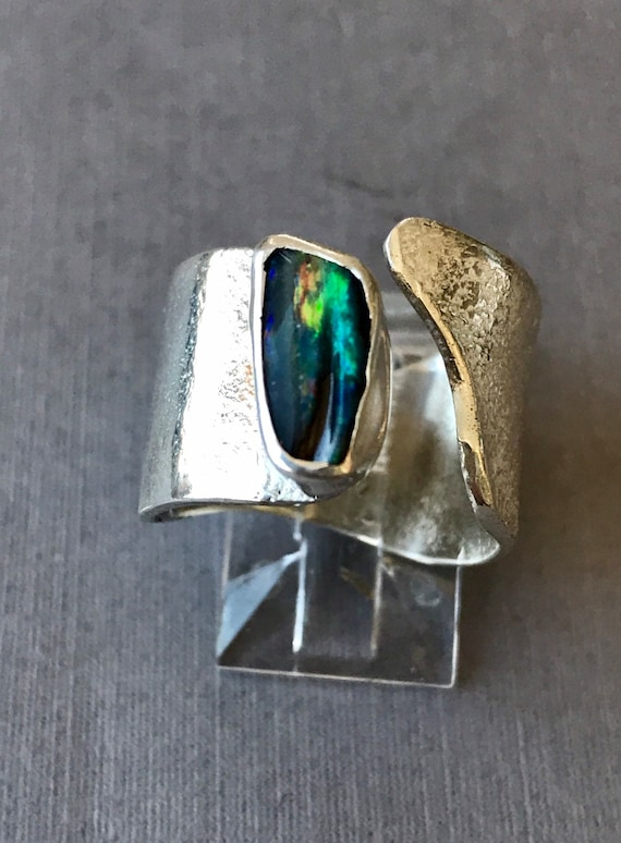 Queensland black opal on reticulated silver ring
