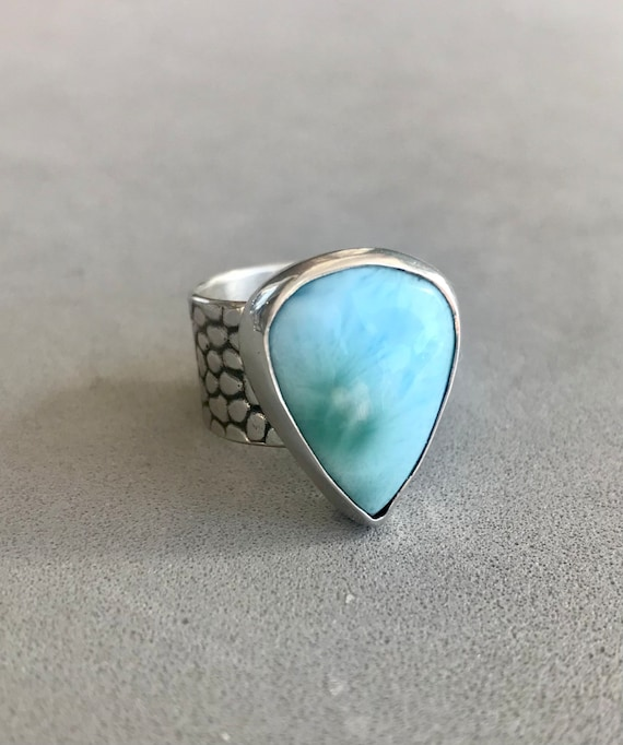 Larimar wide band ring