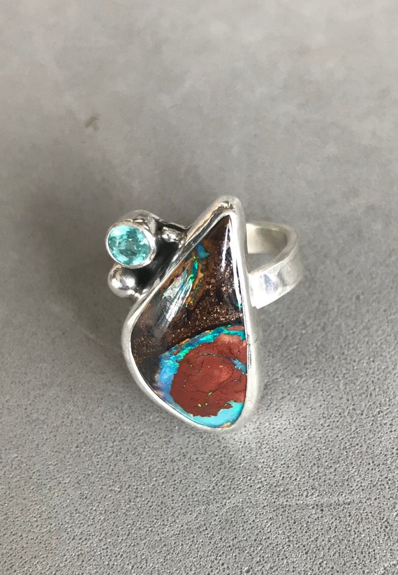 Australian Boulder Opal and Apatite ring