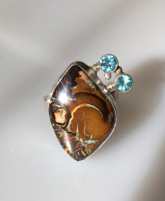 Koroit boulder opal and Apatite ring