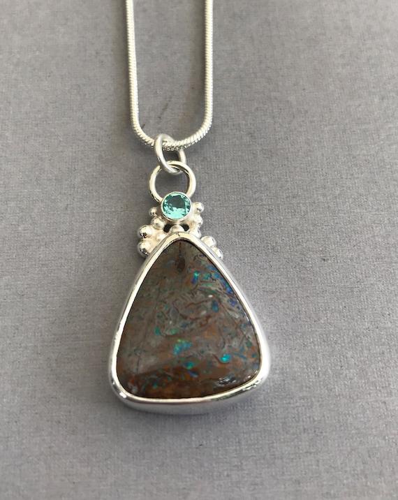 Australian Boulder Opal and Apatite pendant