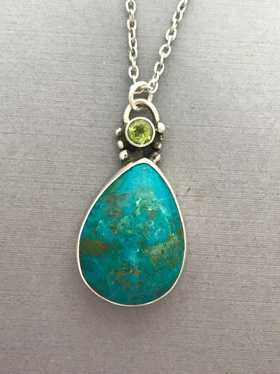 Chrysocalla, peridot, sterling silver, handmade, pendant