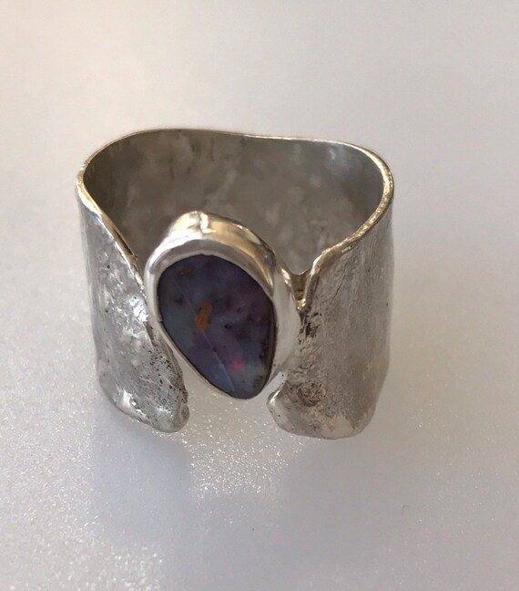 Australian Boulder Opal ring on reticulated silver