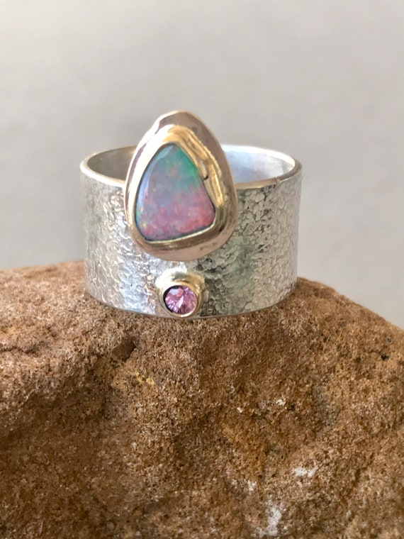 Opal doublet and pink sapphire ring