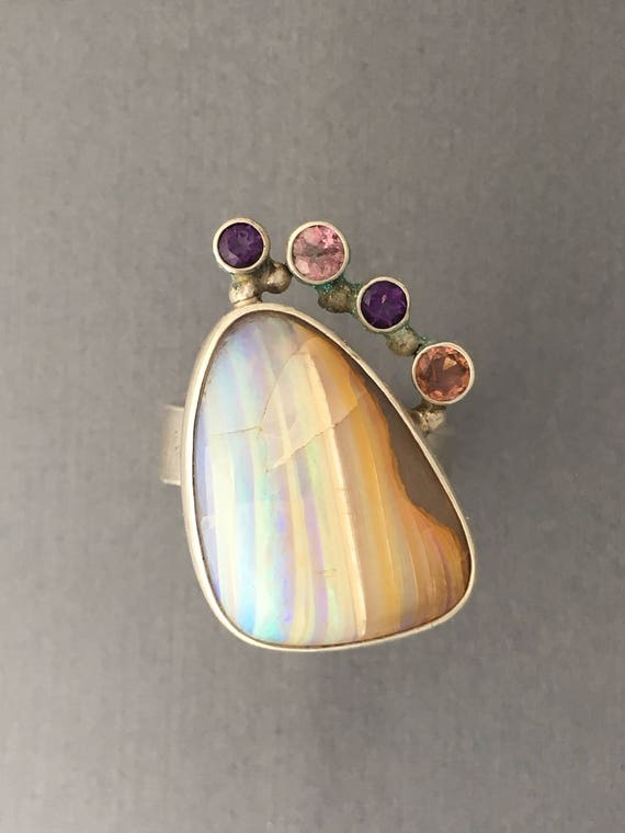 Australian boulder opal chrystal and tourmaline  and amethyst ring