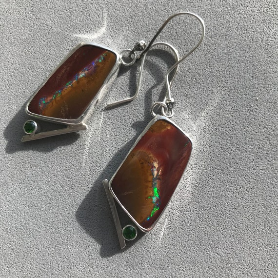 Boulder Opal and Green Diopside earrings