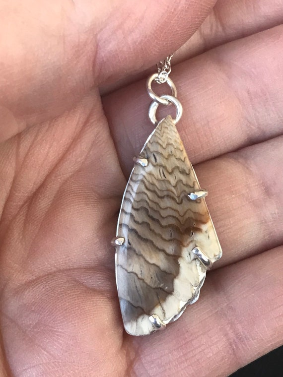 Feather like petrified wood pendant