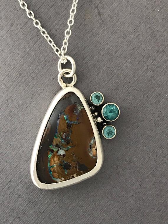 Boulder Opal , apatite , pendant , handmade