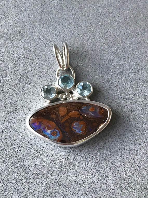 Boulder Opal and Topaz pendant
