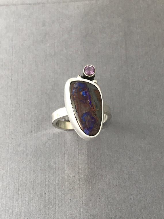 Boulder Opal , amethyst , ring, handmade , size 7-3/4