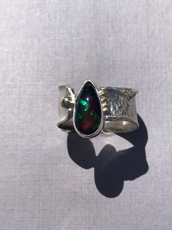 Ethiopian black opal 18k gold reticulated silver ring