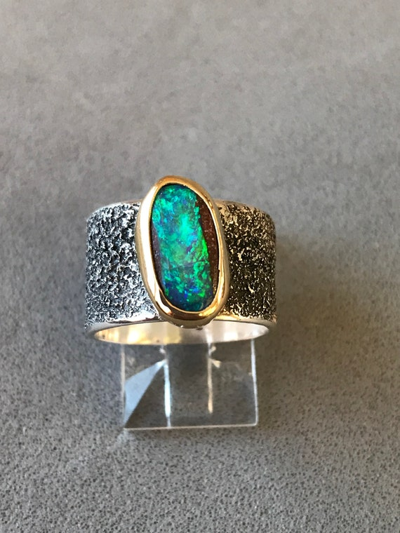 Blue Green Crystal Opal ring