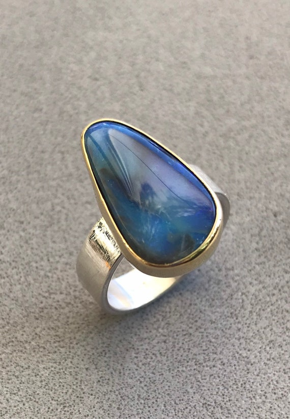 Australian Opal ring in 18k gold bezel and sterling silver ring