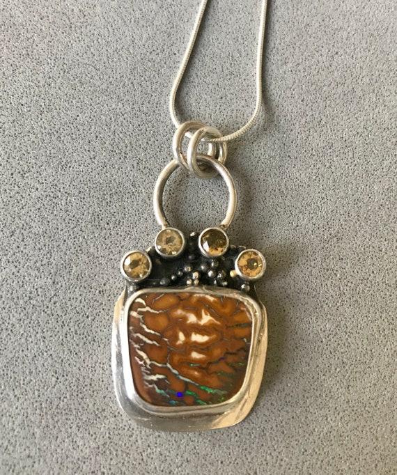 Boulder Opal and citrine pendant