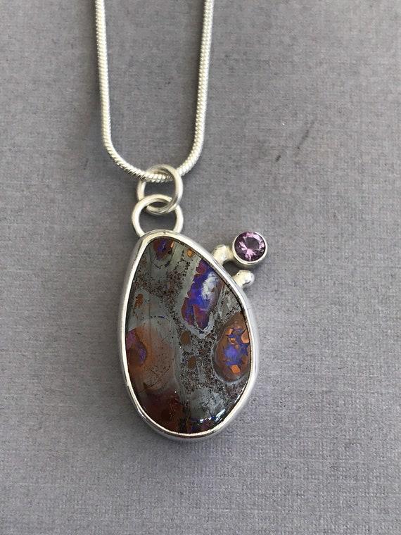 Australian Boulder Opal and amethyst pendant