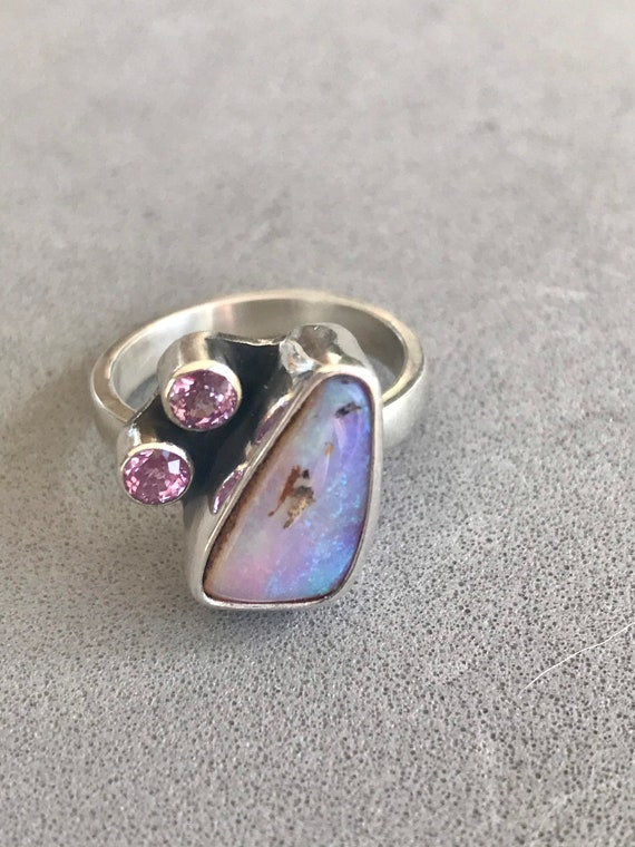 Pipe crystal opal and pink sapphire ring