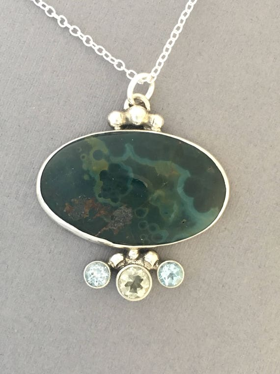 Ocean jasper, green amethyst and blue topaz pendant