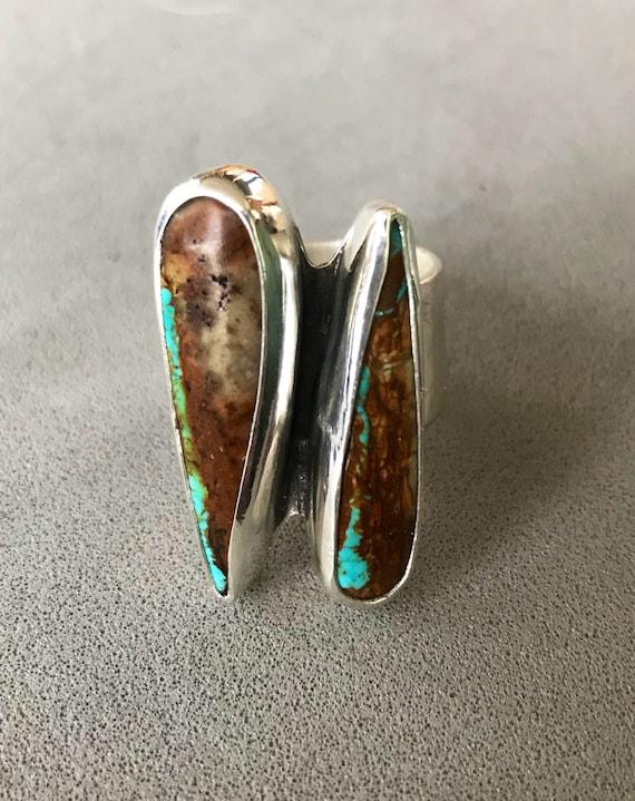 Double talon Royston Ribbon Turquoise ring