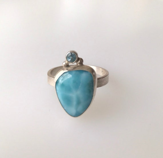 Larimar and sky blue topaz ring