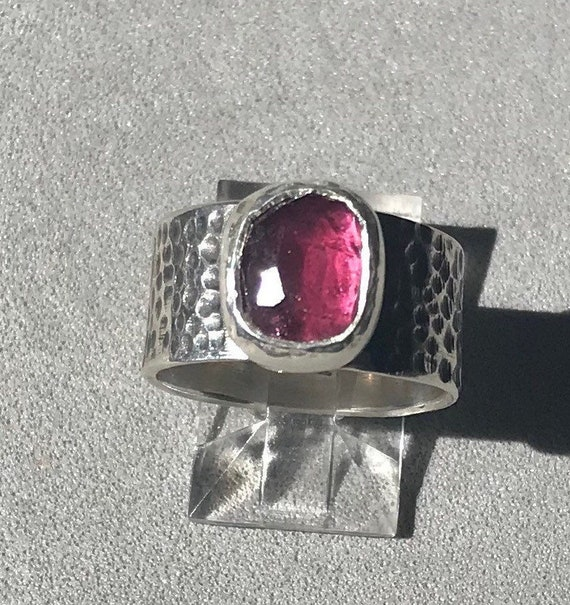 Red rose cut garnet wide band ring