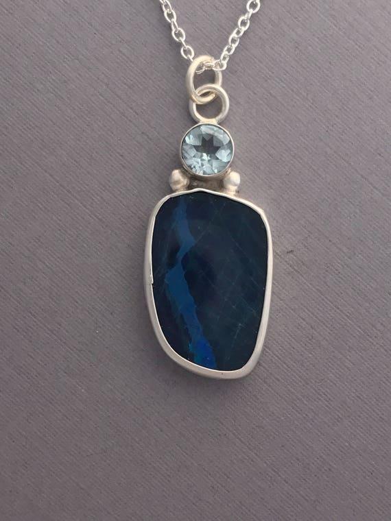 Boulder Opal, topaz, pendant, handmade, sterling silver