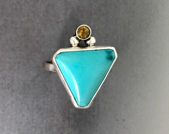 Turquoise , citrine , ring, sterling silver , handmade