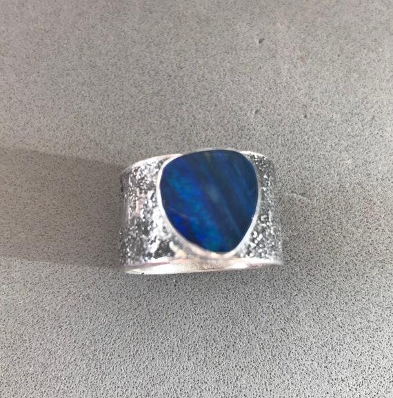 Blue Opal doublet ring