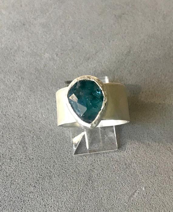 Blue Green rose cut tourmaline ring