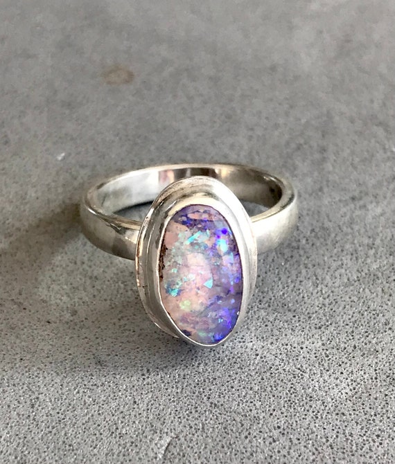 Green and blue flash crystal opal ring