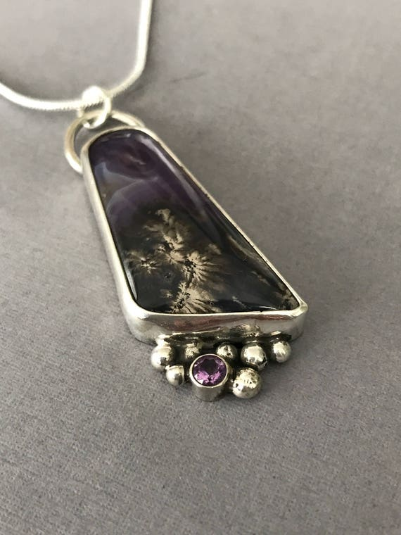 Purple dendritic chalcedony , amethyst , granulation , sterling silver , pendant , handmade