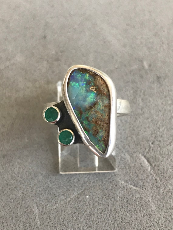 Aus Boulder Opal and Emeralds ring