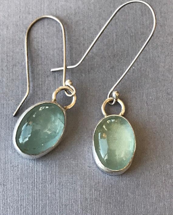 Aquamarine in sterling silver earrings March birthstone