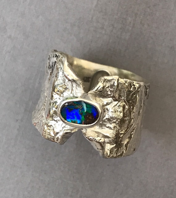 Black opal ring in reticulated silver