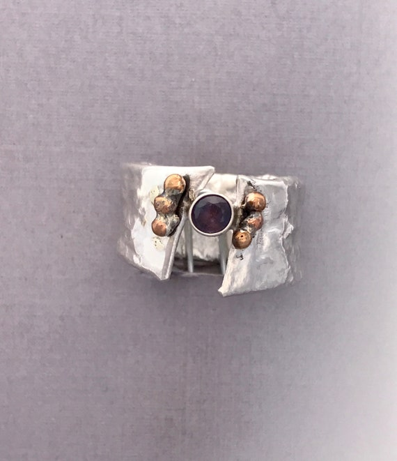 Rock Creek Montana sapphire 18k gold reticulated silver ring