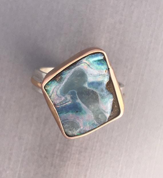 14k rose gold bezel with Boulder Opal ring