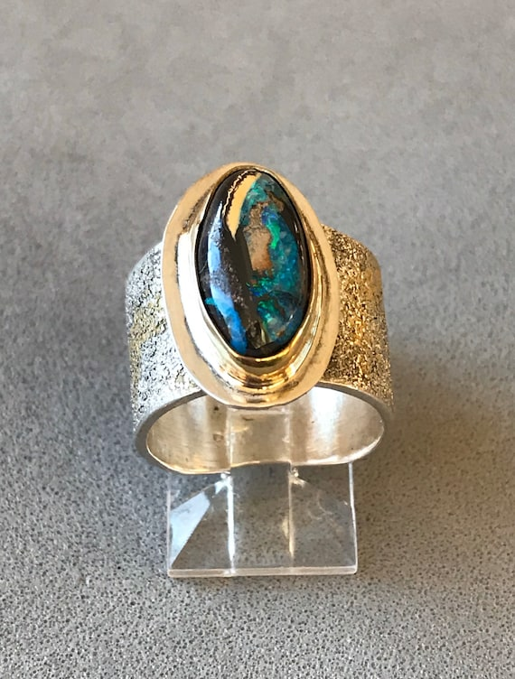 Wide band Boulder Opal ring
