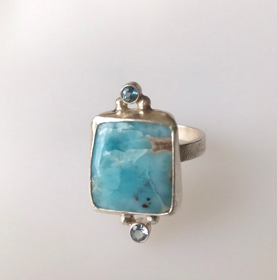 Larimar and topaz square ring