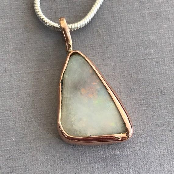 Lightning Ridge Opal pendant in rose gold