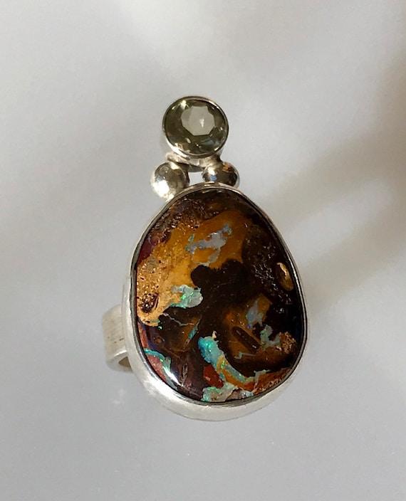 Boulder opal and lemon quartz ring