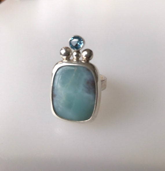 Larimar and topaz ring