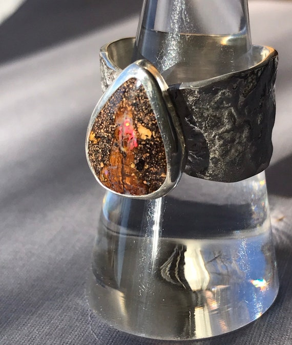 Australian Boulder Opal ring in reticulated silver