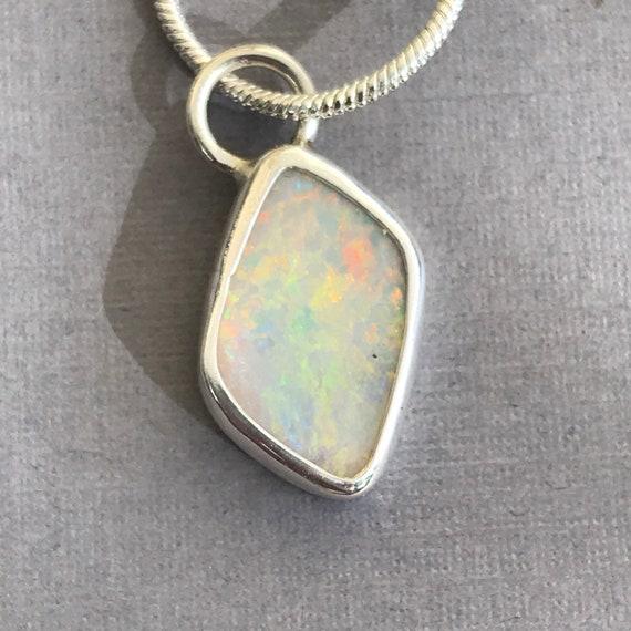 Lightning Ridge opal pendant in sterling silver