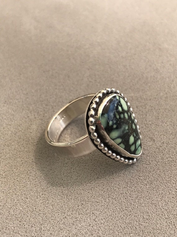 Webbed Varicite in sterling silver ring