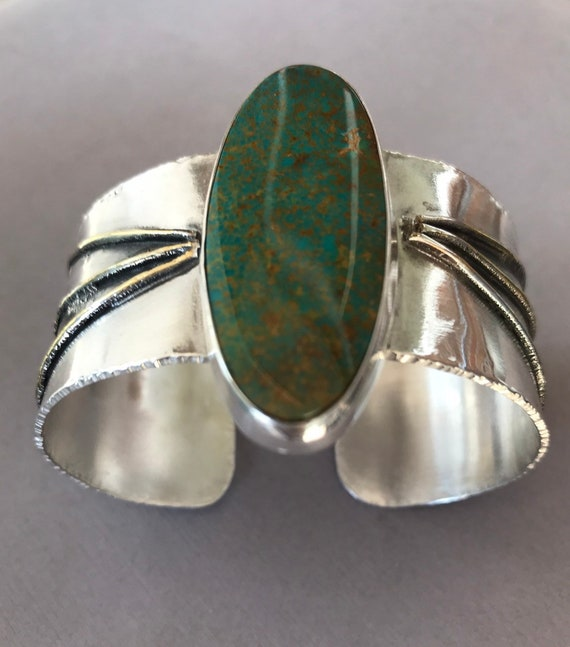 Turquoise Mountain stabilized turquoise on a .999 silver cuff